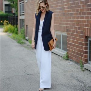 Club Monaco Linen Sleeveless Blazer Navy